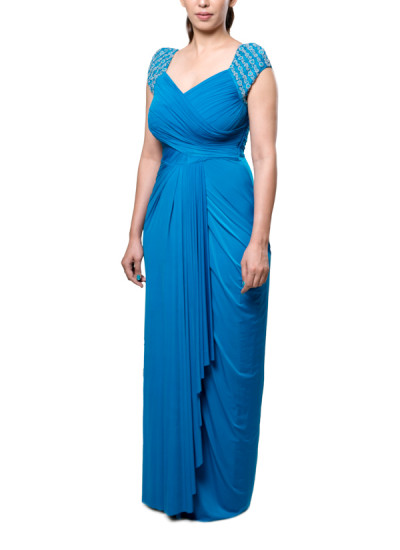 Indian Fashion Designers - Neha Gursahani - Contemporary Indian Designer - Teal Blue Draped Gown - NG-AW16-MA-09