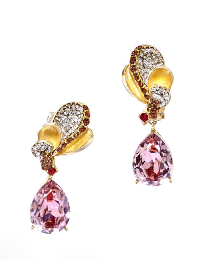 Indian Fashion Designers - Nine Vice  - Contemporary Indian Designer - Lady Rouge Flamboyant Earrings - NIV-AW16-MR-E-2
