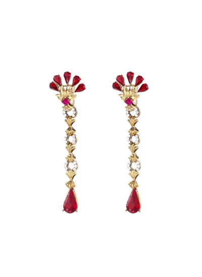 Indian Fashion Designers - Nine Vice  - Contemporary Indian Designer - Lady Rouge Detachable Earrings - NIV-AW16-MR-E-4
