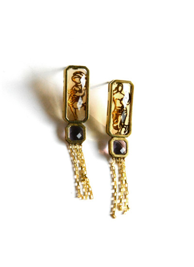 Indian Fashion Designers - Nine Vice  - Contemporary Indian Designer - Citrine and Amethyst Earrings - NIV-AW16-TC-E-2