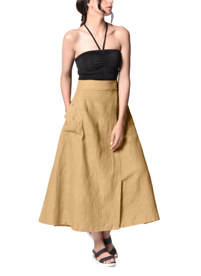 Indian Fashion Designers - Paar - Contemporary Indian Designer - Beige Wrap Dress - PAR-AW16-BIL021