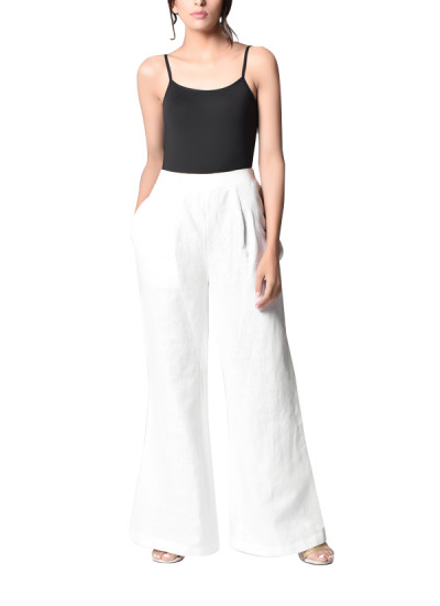 Indian Fashion Designers - Paar - Contemporary Indian Designer - White Bell Bottom - PAR-AW16-LL023