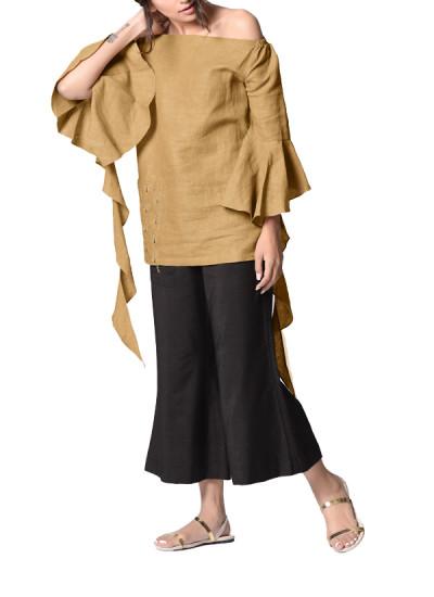 Indian Fashion Designers - Paar - Contemporary Indian Designer - Chic Beige Off-shoulder Top - PAR-AW16-OSLB001