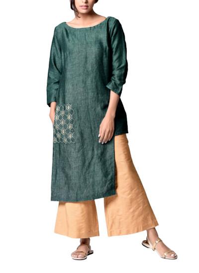 Indian Fashion Designers - Paar - Contemporary Indian Designer - Green Asymmetrical Tunic - PAR-AW16-TLB008G