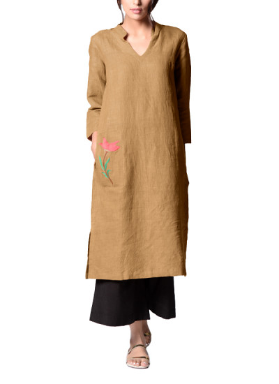 Indian Fashion Designers - Paar - Contemporary Indian Designer - Beige Embroidered Tunic - PAR-AW16-TLF010