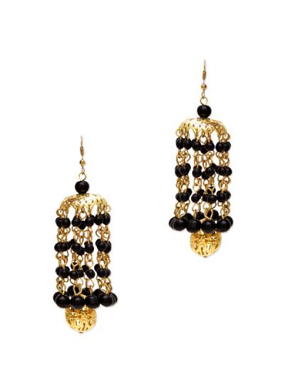 Indian Fashion Designers - Paisley Pop - Contemporary Indian Designer - Ridhaan Black Kaleera Jhumka - POP-AW16-PPXW003