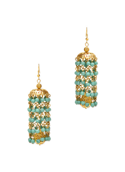 Indian Fashion Designers - Paisley Pop - Contemporary Indian Designer - Aarfeen Turquoise Kaleera Jhumka - POP-AW16-PPXW005