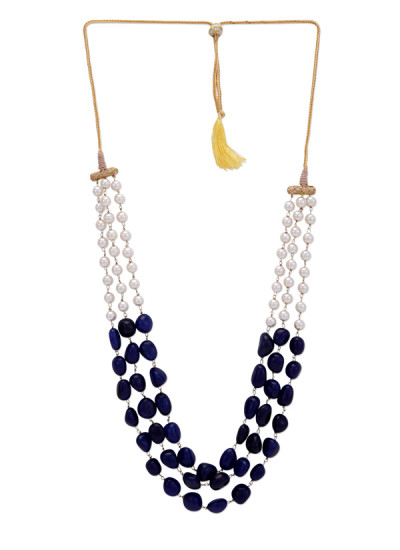 Indian Fashion Designers - Paisley Pop - Contemporary Indian Designer - Kirat Pearls and Blue Onyx Necklace - POP-SS17-PPXSS17007
