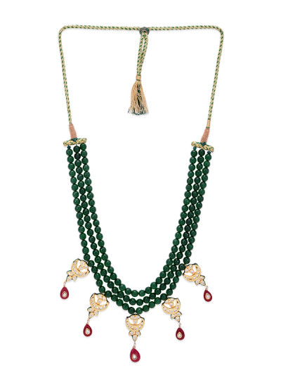 Indian Fashion Designers - Paisley Pop - Contemporary Indian Designer - Jyot Green Onyx and Kundan Necklace - POP-SS17-PPXSS17015
