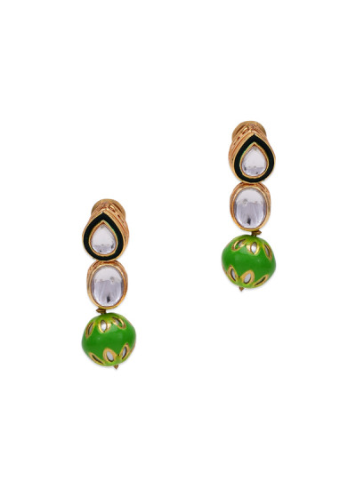 Indian Fashion Designers - Paisley Pop - Contemporary Indian Designer - Maina Kundna Green Stone Earrings - POP-SS17-PPXSS17074
