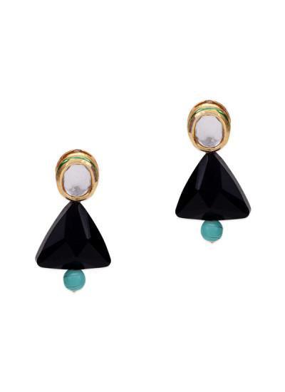 Indian Fashion Designers - Paisley Pop - Contemporary Indian Designer - Akshi Kundana Black Stone Earrings - POP-SS17-PPXSS17084