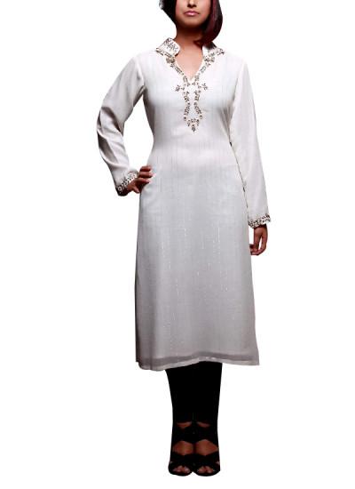 Indian Fashion Designers - Prisha by Shivesh - Contemporary Indian Designer - Off-white Long Tunic - PRSH-AW16-Swasti-04