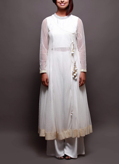 Indian Fashion Designers - Prisha by Shivesh - Contemporary Indian Designer - Off-white Raw Silk Anarkali - PRSH-AW16-Swasti-08