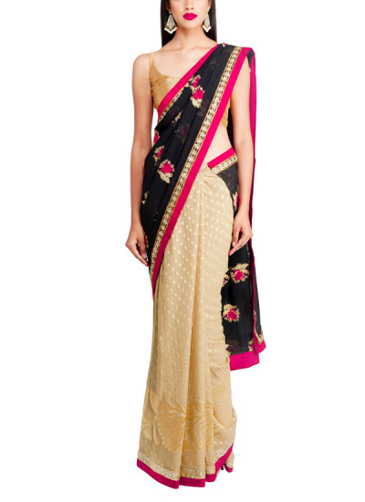 Indian Fashion Designers - Priti Sahni - Contemporary Indian Designer - Black and Gold Saree - PRS-AW16-PSS393
