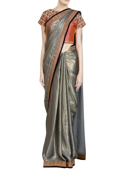 Indian Fashion Designers - Priti Sahni - Contemporary Indian Designer - Shimmer Grey Gota Detailed Saree - PRS-SS17-PSS444