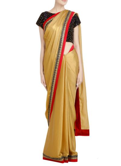 Indian Fashion Designers - Priti Sahni - Contemporary Indian Designer - Sequin Golden Shimmer Saree - PRS-SS17-PSS451