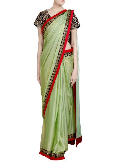 Indian Fashion Designers - Priti Sahni - Contemporary Indian Designer - Sequin Bordered Mint Saree - PRS-SS17-PSS453