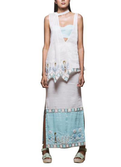 Indian Fashion Designers - Pushpak Vimaan - Contemporary Indian Designer - Trendy white Linen Top Set - PV-SS16-PV-CL2-01
