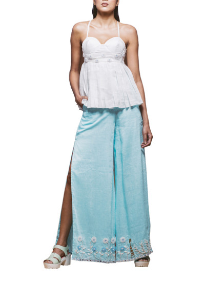 Indian Fashion Designers - Pushpak Vimaan - Contemporary Indian Designer - White Linen Top Set - PV-SS16-PV-CL2-03
