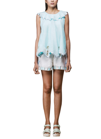 Indian Fashion Designers - Pushpak Vimaan - Contemporary Indian Designer - Powder Blue Linen Top Set - PV-SS16-PV-CL2-04