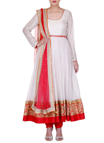 Indian Fashion Designers - Rang - Contemporary Indian Designer - White and Gold Anarkali - RNG-AW16-1-107
