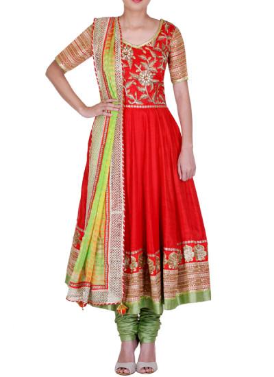 Indian Fashion Designers - Rang - Contemporary Indian Designer - Red Raw Silk Anarkali - RNG-AW16-1-129