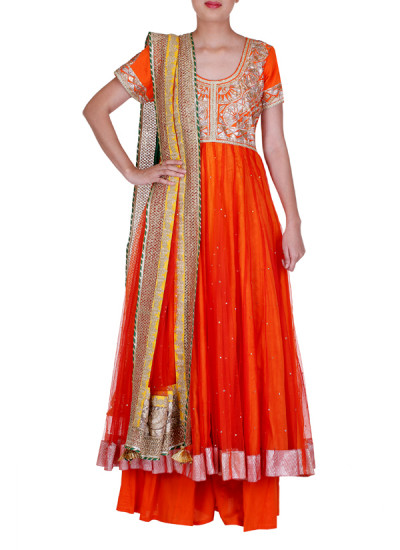 Indian Fashion Designers - Rang - Contemporary Indian Designer - Lovely Orange Anarkali - RNG-AW16-1-132