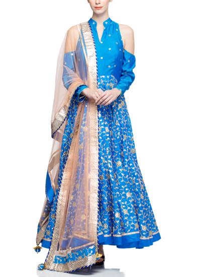 Indian Fashion Designers - Rang - Contemporary Indian Designer - Stylish Blue Anarkali - RNG-AW16-1-143