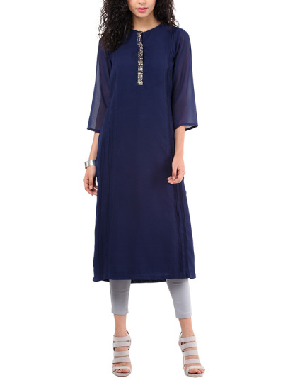 Indian Fashion Designers - Red Couture - Contemporary Indian Designer - Georgette Navy Blue Tunic - RC-AW16-RC16-5w02