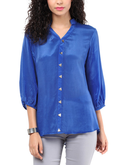Indian Fashion Designers - Red Couture - Contemporary Indian Designer - Royal Blue Triangle Shirt - RC-AW16-RC16-5w11