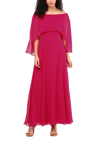 Indian Fashion Designers - Red Couture - Contemporary Indian Designer - Hot Pink Cape Gown - RC-AW16-RC16-5w14