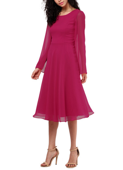Indian Fashion Designers - Red Couture - Contemporary Indian Designer - Hot Pink Georgette Dress - RC-AW16-RC16-5w15