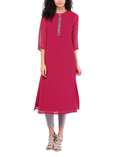 Indian Fashion Designers - Red Couture - Contemporary Indian Designer - Hot Pink Georgette Tunic - RC-AW16-RC16-5w16