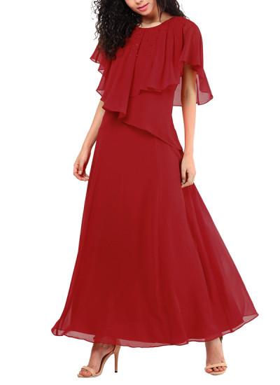 Indian Fashion Designers - Red Couture - Contemporary Indian Designer - Red Cape Gown - RC-AW16-RC16-5w18
