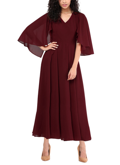Indian Fashion Designers - Red Couture - Contemporary Indian Designer - Maroon Mid Length Dress  - RC-AW16-RC16-5w20