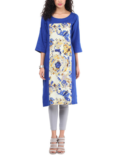 Indian Fashion Designers - Red Couture - Contemporary Indian Designer - Royal Blue Printed Tunic - RC-AW16-RC16-5w22