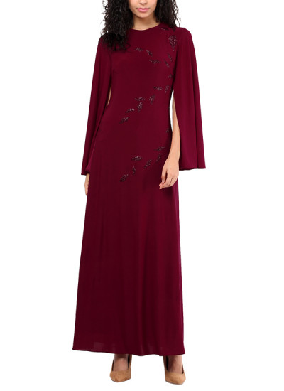 Indian Fashion Designers - Red Couture - Contemporary Indian Designer - Maroon Lycra Gown - RC-AW16-RC16-5w23