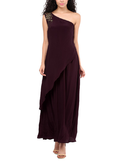 Indian Fashion Designers - Red Couture - Contemporary Indian Designer - Wine Coloured Shoulder Gown - RC-AW16-RC16-5w24