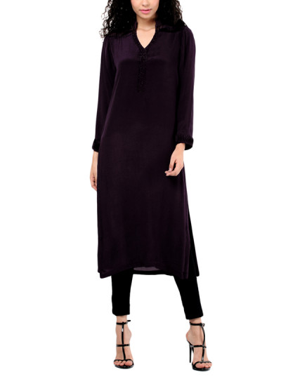 Indian Fashion Designers - Red Couture - Contemporary Indian Designer - Black Crepe Tunic - RC-AW16-RC16-5w27
