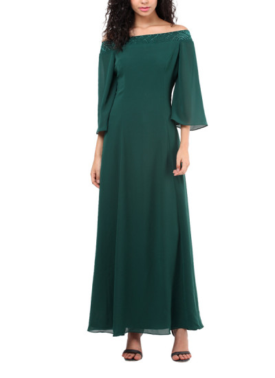 Indian Fashion Designers - Red Couture - Contemporary Indian Designer - Green Off Shoulder Gown - RC-AW16-RC16-5w31