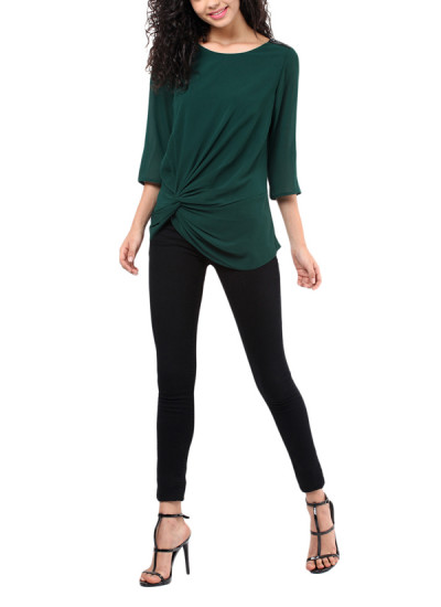 Indian Fashion Designers - Red Couture - Contemporary Indian Designer - Emerald Green Knot Top - RC-AW16-RC16-5w33