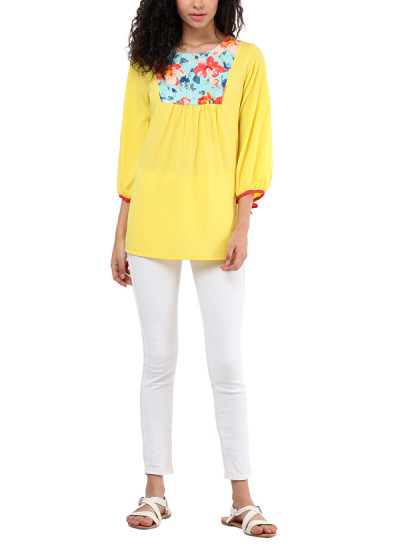 Indian Fashion Designers - Red Couture - Contemporary Indian Designer - Yellow Printed Top - RC-AW16-RC16-5w57