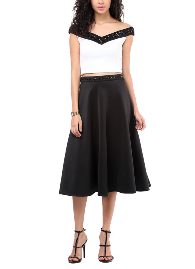 Indian Fashion Designers - Red Couture - Contemporary Indian Designer - Black Knee Length Skirt - RC-AW16-RC16-5w58