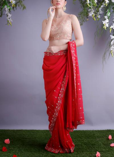 Renee Label  Rose Red Sari With Nude Blouse  Shop Sarees -8590