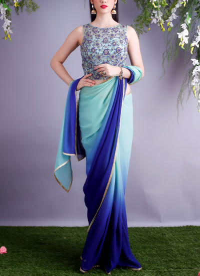 Indian Fashion Designers - Renee Label - Contemporary Indian Designer - Mint Navy Glass Embroidered Sari - REN-AW17-Salvia