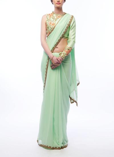 Indian Fashion Designers - Renee Label - Contemporary Indian Designer - Elegant Pistachio Saree - REN-SS16-RLL8-Perdot