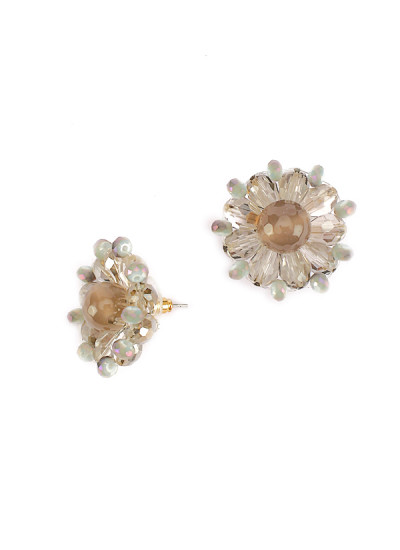 Indian Fashion Designers - Rhea - Contemporary Indian Designer - White Swan Studs - RH-AW16-1030021