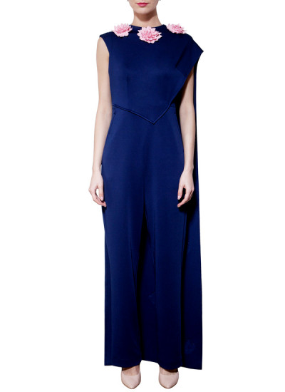 Indian Fashion Designers - Riddhi And Revika - Contemporary Indian Designer - Navy Blue Cape Jumpsuits - RRI-AW16-JS-006