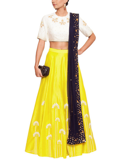 Indian Fashion Designers - Salt and Spring by Sonam Jain - Contemporary Indian Designer - Embroidered Blouse and Yellow Skirt Set - SAS-AW17-BL1001-SK1003-D1001