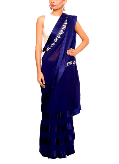 Indian Fashion Designers - Salt and Spring by Sonam Jain - Contemporary Indian Designer - Blue Saree With Off White Blouse - SAS-AW17-BL3001-SA3001
